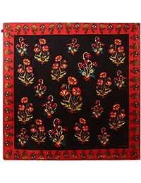 ROHIT BAL Women's Silk Flower Print Scarf (521,Multicolour, Free Size)
