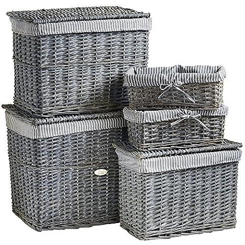 VonHaus 5 Piece Grey Wicker Storage Basket & Hamper Trunk Set with Washable Fabric Lining