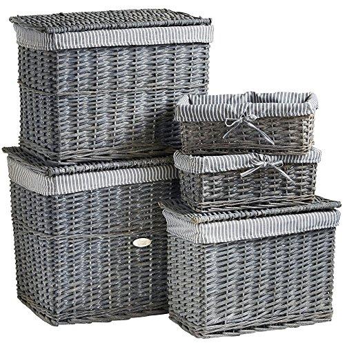 VonHaus Set aus 5 Grauen Aufbewahrungskörben aus Natürlicher Weidenrute & Wäschekorb-Set mit Herausnehmbarer Innenauskleidung zum Waschen (Fünf Weidenkörbe)