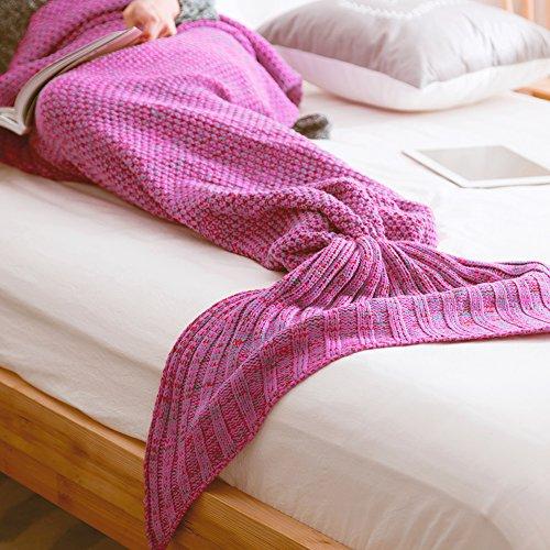 Mermaid Tail Coperta adulti maglieria modello di lana, uncinetto Snuggle Sacco a pelo morbido del sofà della coperta del tiro (Stripe Red Rose, 74.8x 35.4 pollici)