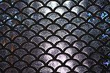ASVP Shop® Meerjungfrauen-Stoff, Fischschwanz-Stoff, Material mit dehnbarem Spandex, Lycra–145cm breit Schwarz