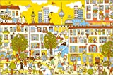 Poster 90 x 60 cm: Berlin Wimmelbild von Judith Drews - Hochwertiger Kunstdruck, Neues Kunstposter