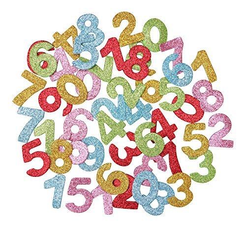 KRAFTZ® Glitzer Schaumstoff EVA Zahlen Aufkleber, selbstklebend in verschiedenen Größen und Farben für Kinder Art & Craft, Dekorieren Karten und Modelle (Großer Aufkleber, Zahlen)