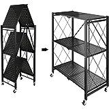 3-laags Stellingkast, Opbergrek voor de Keuken Opvouwbare Opbergwagen Plantenstandaard voor Garage, Keuken, Thuis, Kantoor