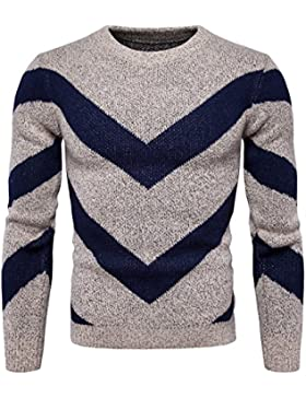MEI&S Cuello redondo tejido de hombres Camiseta de manga larga Sudadera Knitwear
