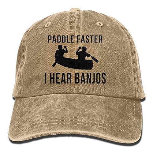 Wolanim Paddle Faster I Hear Banjos Unisex Cotton Denim Baseball Cap Adjustable Strap Low Profile Plain Hats Natural -
