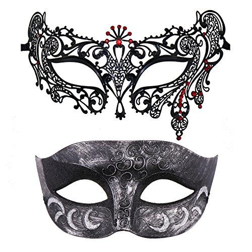 Thmyo 2 Pack Venezianische Masquerade Maske für Paare, Mardi Gras Halloween Ball Maske (Antikes Silber schwarz & schwarz + rot)