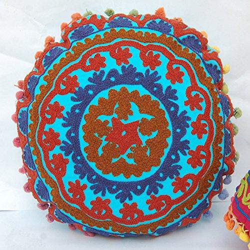 CRAFTOFPINKCITY 2 Stück indischen Vintage osmanischen indischen Kissenbezug bestickt rund Pouf 40,6 cm Suzani Kissen Fallund Kissenbezug Suzani bestickt Baumwolle Pouf Bezug Indian dekoratives Kissen Cover -