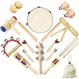 Ulifeme Instrument de Musique Enfant, 23 Pièces Instrument Musique Bois pour Bebe, Ensemble de Jouets 100% Bois Pur, Kit Ryth
