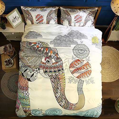 Funda De Edredón, Morbuy 3PC Moda 3D Elefante Bohemio Boho 200 x...
