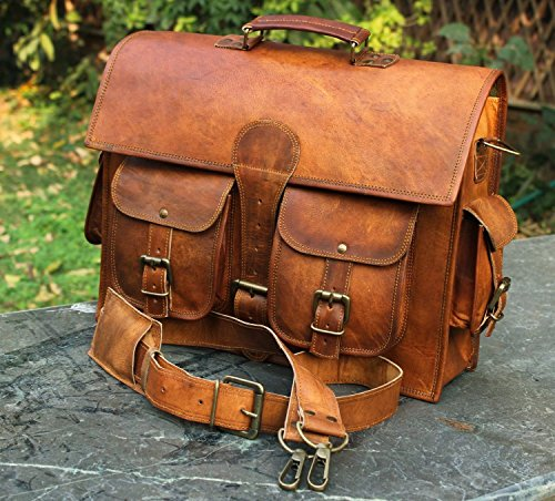 - 61wmgrG mcL - Leather Laptop Briefcase Messenger Satchel Bag, Handmade Vintage Leather Rustic Leather Bag