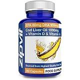 Cod Liver Oil 1000mg, 360 Capsules of High Strength Fish Oil, Rich in Omega 3. Supports Heart Health, Brain Health, Eye Healt