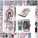 KM-Panda Samsung Galaxy S7 Leder Tasche Klapphülle Schutzhülle Handytasche Ledertasche Handyhülle Lederhülle Flip Case hülle mit Kartenfächer - Eule Campanula