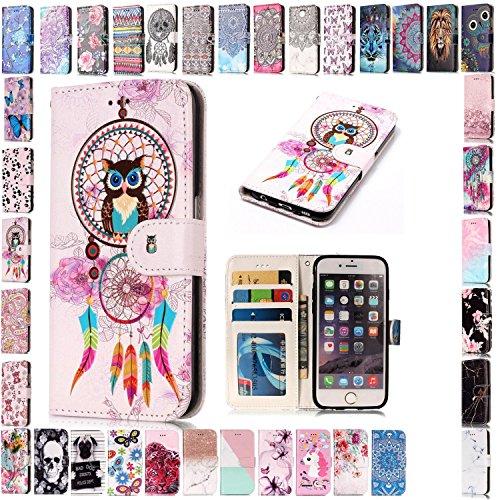 KM-Panda Kompatibel für Apple iPhone 5 5S SE Leder Tasche Klapphülle Schutzhülle Handytasche Ledertasche Handyhülle Lederhülle Flip Case hülle mit Kartenfächer - Eule Campanula (Iphone 5s Case Eule Design)
