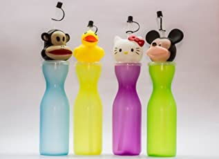 Shopkooky Cute Monkey Shape Cap Sipper for Kids Return Gifts for Kids Birthday in Bulk (Pack of 4)