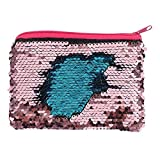 Reversible Sequins Small Purse Bag Gift Fun Wallet For Her Case Pink Mermaid