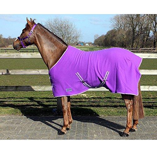 Fleece Abschwitzdecke mit Kreuzbegurtung - tolle Qualität viele Farben / Größen , Groesse:150, Farbe:lila