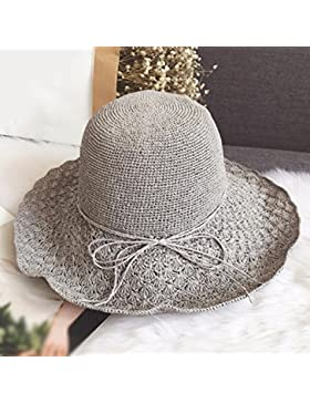 LVLIDAN Sombrero para el sol del verano Dama SolAnti-Sol Playa pescador gris sombrero de paja plegable