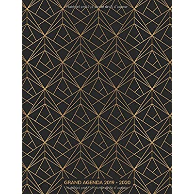 Grand Agenda 2019-2020: Agenda de Juillet 2019 à Juillet 2020, Semainier grand format 21x28cm, simple & graphique, idéal prise de rendez-vous, motif géométrique noir & or