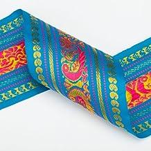 Neotrims India Paisley, Peacock Sari Salwar Kameez Craft materiale 9 cm, motivo: pavone, 9cms.-Nastro tradizionale Colorata e vivace Sari ribbon Bordo con disegni jacquard floral & pavone pattern. 3 splendidi colori turchese, colore: rosso e viola. blu 2 m