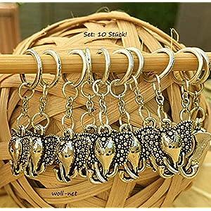 Maschenmarkierer Stricken Strickzubehör Anhänger Elefant silberfarbig, NS 1-6, 1 Set = 10 Stück, Motiv einseitig!