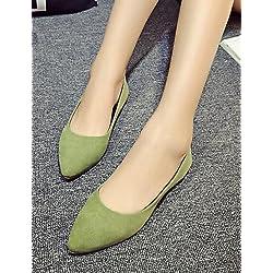 ShangYi Scarpe Donna-Ballerine-Ufficio e lavoro / Casual-Comoda / A punta-Piatto-Felpato-Nero / Giallo / Verde / Grigio / Borgogna