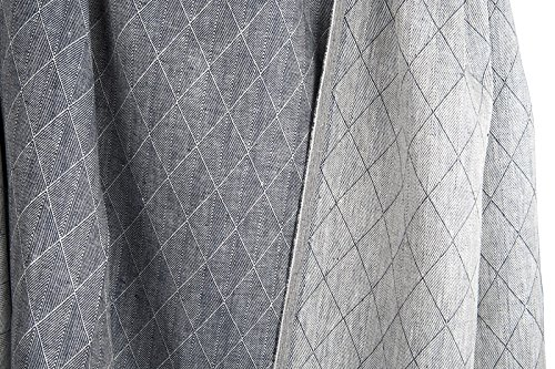 Doppelseitig 100% Leinen Stoff Meterware–Blau/Weiß–Breite 150cm (149,9cm)–270gsm Textil–Rhombus gemustert (Plaid Kleid Leinen)