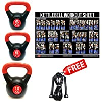 SET OF 3 FXR SPORTS VINYL KETTLEBELLS 6, 6, & 10KG WEIGHTS HOME GYM CARDIO