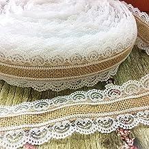 Wady 2,5cm x 5m yute Natural Yute Arpillera rollo de cinta de encaje + blanco encaje decoración para boda fiesta Navidad manualidades decorativas