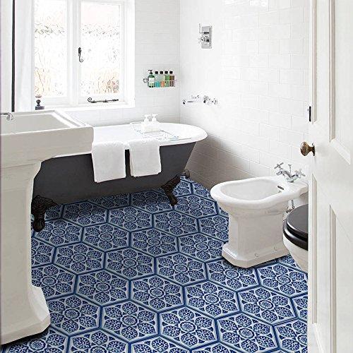 (40 Stück) Blau-Weißes Porzellan Rutschfeste Bodenaufkleber Dekoration Selbstklebende Wasserdichte Fliesenaufkleber