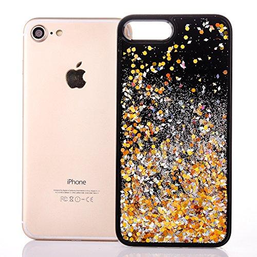 """Coque pour Apple iPhone 6/6s 4.7"""", CLTPY 3D Bord Noir Housse dans Doux Dual Layer Silicone Plastic en Liquide Bling Flash Etui Protection Cristal Case Stars Glitter Sparkles se écoulant Coquille pour  Or"""