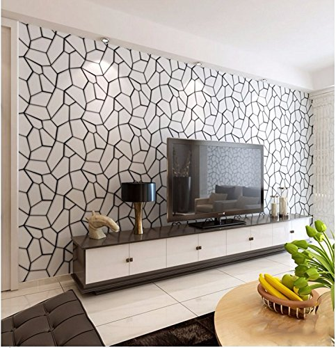 JSLCR Moderne minimalistische schwarz-weiß-Vlies Tapeten Wohnzimmer Schlafzimmer Terrasse Speisesaal Hintergrundbilder video TV Hintergrund wallpaper