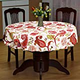 Miyanbazaz Textiles Round Table Cloth For 4 Seater/Cotton Table Cover For Dining Table Multicolor 65- Inch