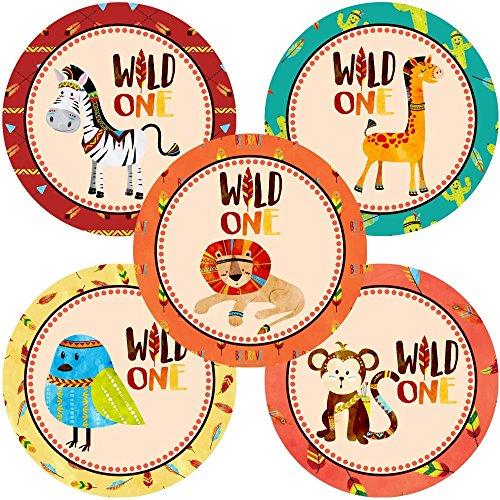 Adorebynat Party Decorations - EU Wild ein-Dschungel-Safari Stammes Tiere Sticker Aufkleber - Geburtstags-Babyparty-Partei-Bevorzugungen - Satz von 30 (Safari-geburtstags-party Einladungen)