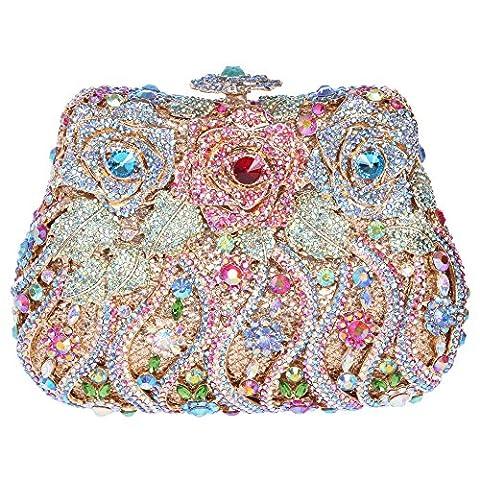 Bonjanvye Delicate Studded Rose Clutch Bag Crystal Evening Bags for Girls Colorful Blue