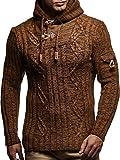 LEIF NELSON Herren Strickpullover Pullover LN5400; Größe M, Camel