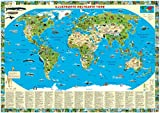 Tierweltkarte: Illustrierte Weltkarte Tiere