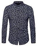 WHATLEES Herren Paisley Langarm Hemden - mit Stehkragen und durchgehendem Print BA0070-black-L