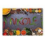 Tischset mit Namen ''Nicole'' Motiv Chili - Tischunterlage, Platzset, Platzdeckchen, Platzunterlage, Namenstischset