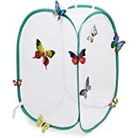 Hyindoor Insect and Butterfly Habitat Cage Terrarium - Pop-up 23.6 Inches Tall (White)
