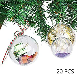 Uten 20 x Bolas de Navidad Forma Redonda Plástico Transparente para Decorar el arbol de Navidad no Incluye Cuerda