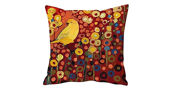Onker Cotton Linen Square Decorative Throw Pillow Case Cushion Cover 18 x 18 New Illustration Painting Bird and Plants