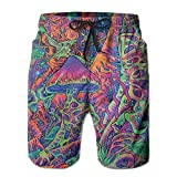 fjfjfdjk 2017 Newest Men's Trippy Smoke Magic Mushrooms Quick Dry Beach Board Shorts X-Large