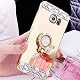 COTDINFOR Samsung Galaxy S3 Hülle Bling Glitzer Diamant Spiegel Schutzhülle Kristall Strass Ständer Halter Stoßdämpfend TPU Silikon Handy Crystal Etui für Samsung Galaxy S3 Ring Mirror Gold.