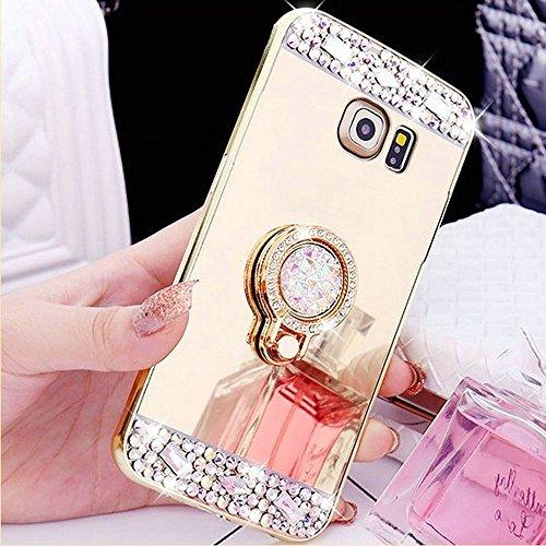 COTDINFOR Galaxy S5 Funda de Espejo Lindo para niñas Case de Cristal Brillante Bling Diamond Glitter TPU Protectora con Soporte de Anillo para Samsung Galaxy S5 Ring Mirror Gold.