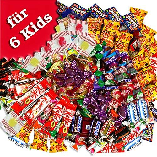 SÜSSIGKEITEN-SET zum Kindergeburtstag als Mitgebsel, 154-teiliger Mix aus Gummibärchen, Schokolade und Lollies, für Zuckertüte zur Schuleinführung oder Füllen einer Pinata, 970g