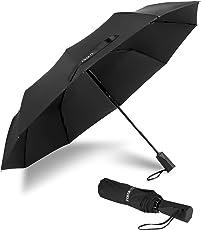 Speedsporting Regenschirm Taschenschirm Auf-Zu Automatik Schirm mit 10 Edelstahl Rippen, Sturmfest Windtest bis 150 km/h, Kompakt Stabil Winddicht Teflon-Beschichtung Regenschirm Schirm für Reisen Business, Schwarz 105 cm