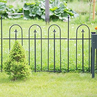 Relaxdays Gartenzaun Metall GOTH Komplettset 4,8 m, Metallzaun aus Eisen, 4 Zaunelemente 90 x 120 cm, anthrazit, schwarz von Relaxdays bei Du und dein Garten