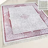 mynes Home Waschbarer Teppich Lila Violett mit Bordüre waschbar Orientalisches Design Meliert Rutschhemmend Waschmaschinengeeignet Läufer Küche Bad (160 x 230 cm)