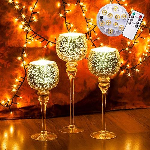 pille gartenwelt 3er Set beleuchtetes Windlicht Glas Kelch Echt Glas Wind Lichter Set Vintage Rose Gold LED Timer Fernbedienung möglich wasserdicht IP 67 warmweiss (3er Set, mit LED)